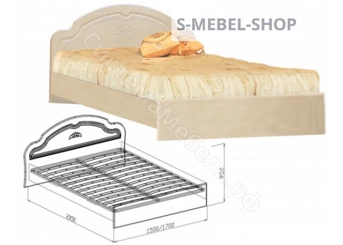 Спальня модульная Валенсия - Кровать N2 с основанием 1,6. Жемчуг глянец