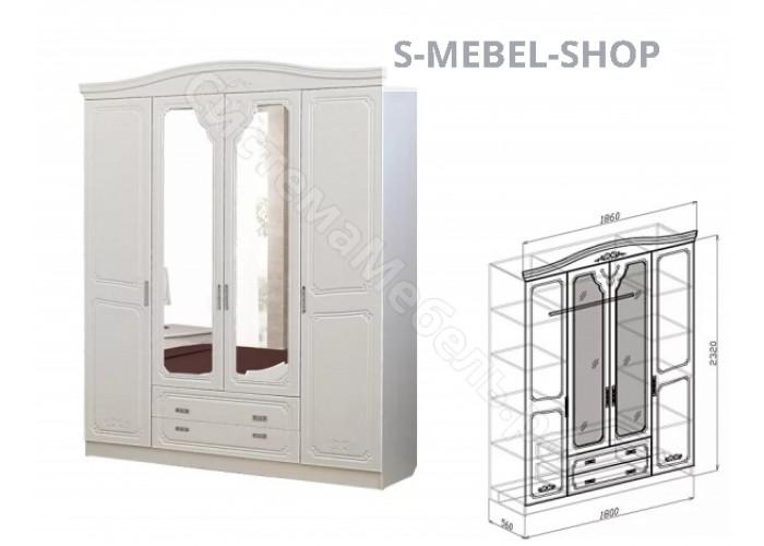 Спальня модульная Ева - Шкаф 4-дверный. Рельеф Пастель