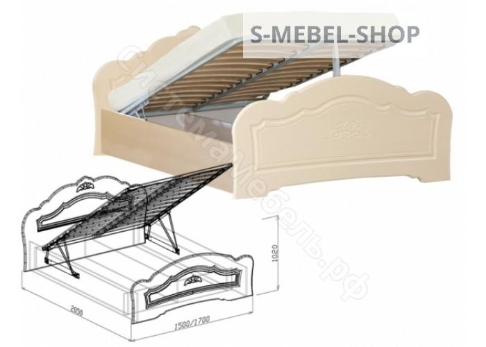 Спальня модульная Корона - Кровать - 1,6 с подъемным механизмом. Жемчуг глянец