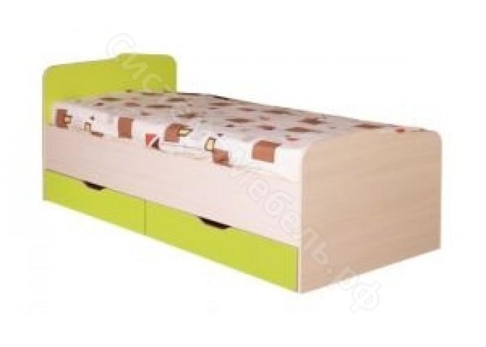Детская Евро - Кровать N15 с ящиками. Лайм