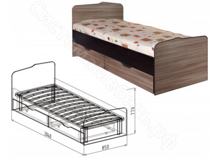 Детская Статус - Кровать N23 с ящиками. Ясень Шимо темный