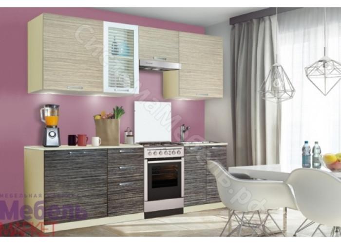 Кухня Шанталь 1 - Зебрано Сахара/Зебрано Нюанс. 6 модулей