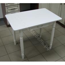 Стол прямоугольный обеденный с ящиком нераскладной - Белый