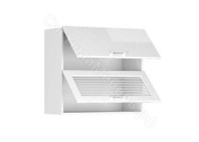 Шкаф-антресоль ШАВ-80-2Д Шанталь-2 Белый/Белый металлик глянец