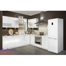 Кухня Шанталь 2 - Белый/Белый металлик глянец. 10 модулей