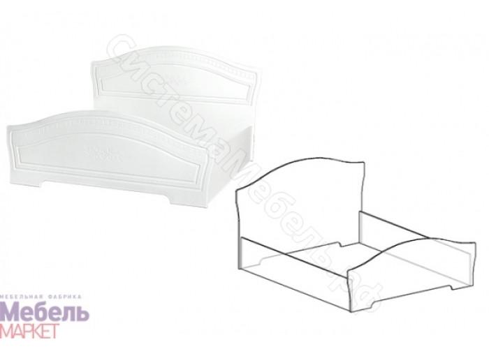 Спальня Шарлота - Кровать 1,6 м с подъемным механизмом. Белая/Скол Дуба белый
