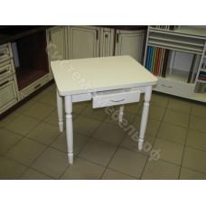 Кухонный стол Ломберный (поворотно-раскладной) с ящиком. Белый