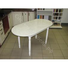 Кухонный стол овальный раскладной без ящика, пластик - Мрамор карарра матовый
