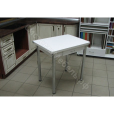 Кухонный стол Ломберный (поворотно-раскладной) с ящиком. Белый. Ножки хром
