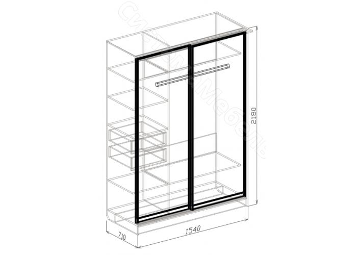 Спальня модульная Палермо - Шкаф 2-дверный купе. Венге Дуглас