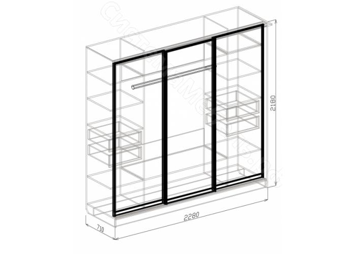 Спальня модульная Палермо - Шкаф 3-дверный купе. Белый дым