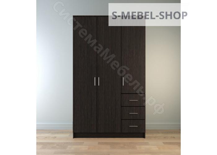 Шкаф распашной 3-х дверный с ящиками Лофт 1200 - Дуб сонома
