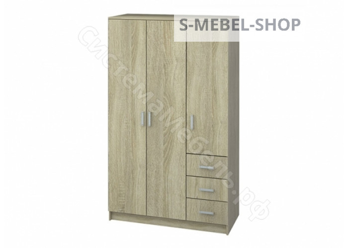 Модульная система Лофт - Шкаф 3-х дверный с ящиками - Дуб сонома
