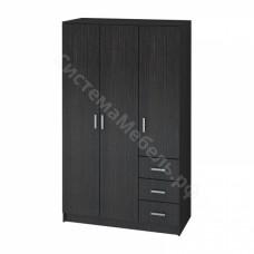 Модульная система Лофт - Шкаф 3-х дверный с ящиками - Венге
