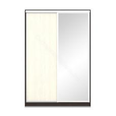 Шкаф-купе 2-х дверный 1600 с зеркалом - Венге/Дуб молочный