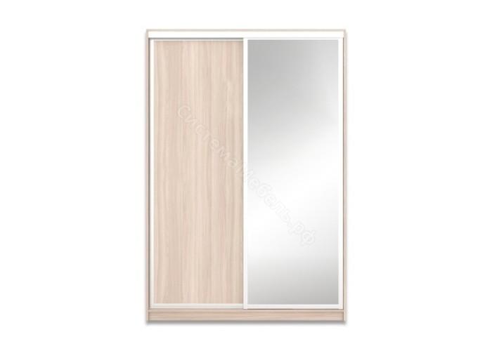 Шкаф-купе 2-х дверный 1700 с зеркалом - Ясень светлый