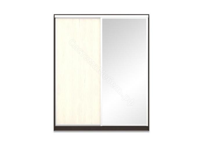 Шкаф-купе 2-х дверный 1800 с зеркалом - Венге/Дуб молочный
