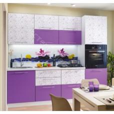 Кухня Сити 2,4 м - Фиолетовый/Фиолет супер матовый. 7 модулей