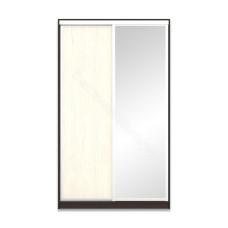 Шкаф-купе 2-х дверный 1300 высотой 2400 с зеркалом - Венге/Дуб молочный