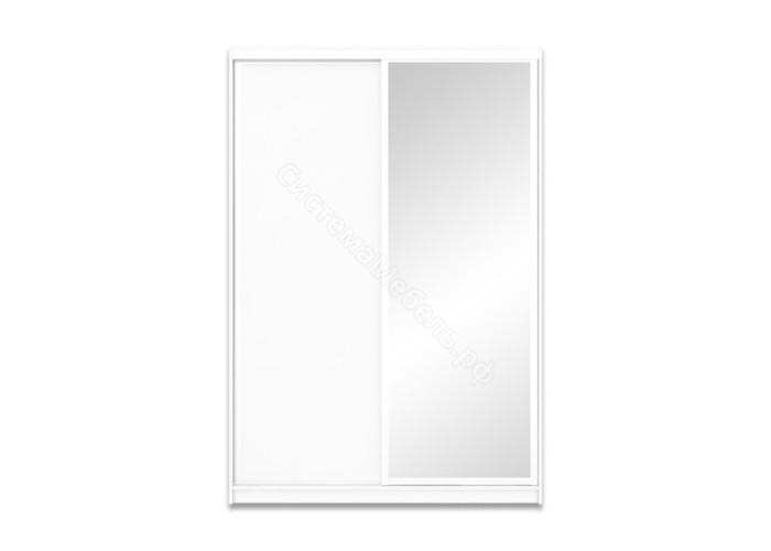Шкаф-купе 2-х дверный 1700 высотой 2400 с зеркалом - Белый