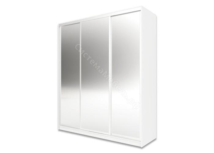 Шкаф-купе 3-х дверный 1800 высотой 2400 зеркальный - Белый