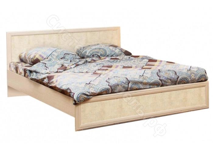 Спальня Волжанка 2 - Кровать двуспальная с настилом 1400 - Дуб Линдберг/Крок кремовый