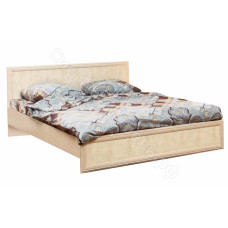 Спальня Волжанка 2 - Кровать двуспальная 1600 без основания - Дуб Линдберг/Крок кремовый