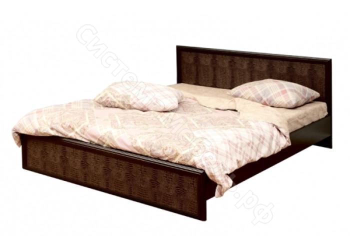 Спальня Волжанка - Кровать двуспальная с настилом - Венге/Крокодил коричневый