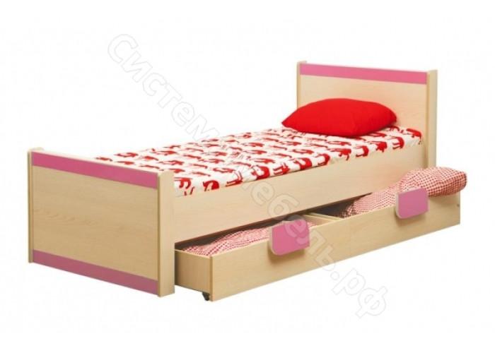 Детская Лайф - Дуб Линдберг/Розовый - Кровать одинарная