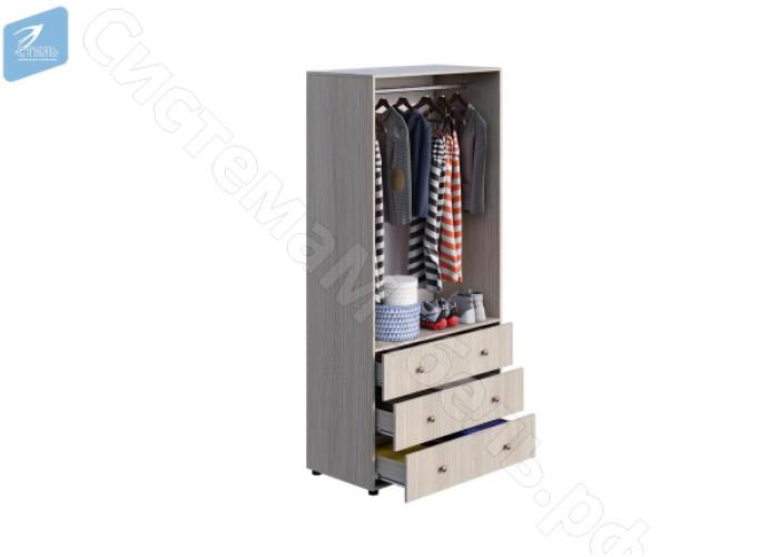 Модульная детская Мийа 3 - Шкаф 2-х ств.комбинированный. Дуб молочный/Фотопечать