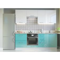Кухня Одри 220 МДФ - Белый глянец/Морская волна - 8 модулей