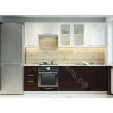 Кухня Одри 240 МДФ - Белый глянец/Венге - 8 модулей