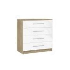 Спальня Бланка - Комод с 4 ящиками. Дуб сонома/Белый глянец