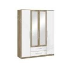 Спальня Бланка - Шкаф 4-х дверный. Дуб сонома/Белый глянец
