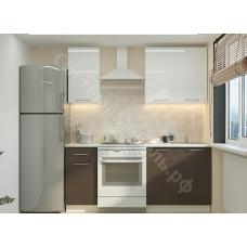 Кухня Одри 120 МДФ - Белый металлик/Венге. 4 модуля