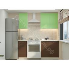 Кухня Одри 120 МДФ - Зеленый металлик/Венге. 4 модуля