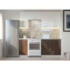 Кухня Одри 190 МДФ - Белый глянец/Венге - 7 модулей