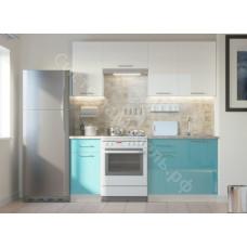 Кухня Одри 190 МДФ - Белый металлик/Морская волна - 7 модулей