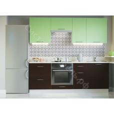 Кухня Одри 220 МДФ - Зеленый металлик/Венге - 8 модулей
