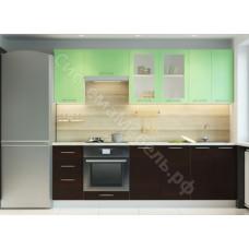 Кухня Одри 240 МДФ - Зеленый металлик/Венге - 8 модулей