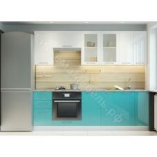 Кухня Одри 240 МДФ - Белый глянец/Морская волна - 8 модулей