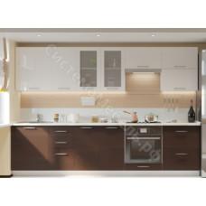 Кухня Одри 300 МДФ - Белый глянец/Венге - 11 модулей