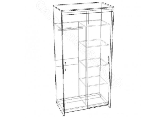 Спальня Камелия - Шкаф-купе 2-дверный с зеркалом. Венге/Беленый дуб