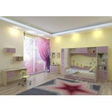 Детская Улыбка - Дуб молочный/розовый. До 8 модулей