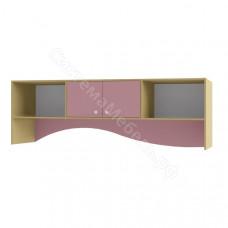 Детская Улыбка - Полка над кроватью. Дуб молочный/розовый