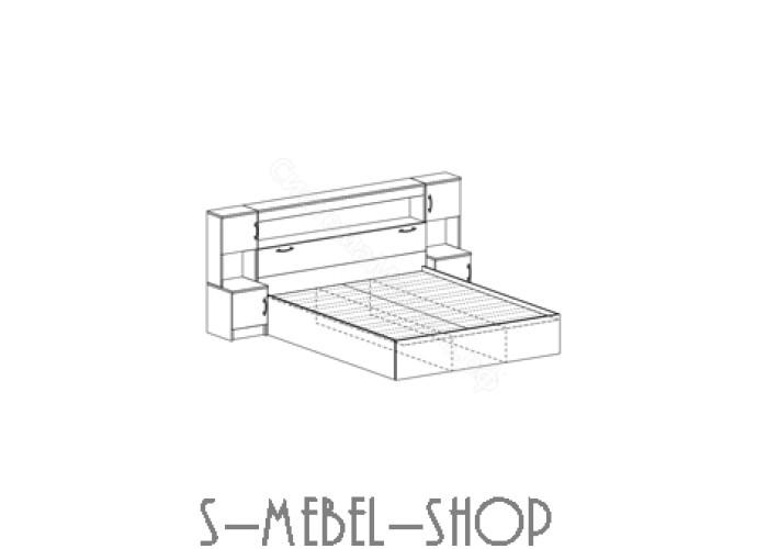 Модульная спальня Бася - Кровать с прикроватным блоком. Венге/Дуб белфорд