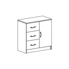 Спальня Бася - Комод с 3 ящиками и 1 створкой. Венге/Дуб белфорд