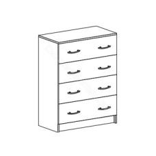 Спальня Бася - Комод 4 ящика. Венге/Дуб белфорд