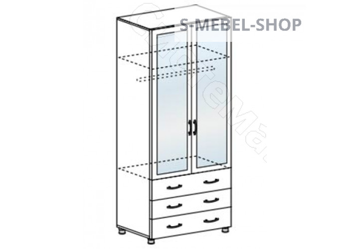 Модульная спальня Виктория МДФ - Шкаф с ящиками и зеркалом. Белфорд/Жемчуг