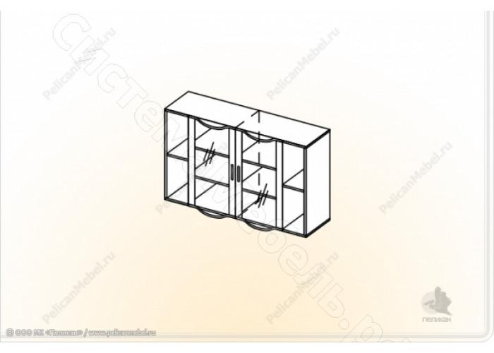 Гостиная модульная Глория - Шкаф навесной 2. Венге/Дуб белфорд
